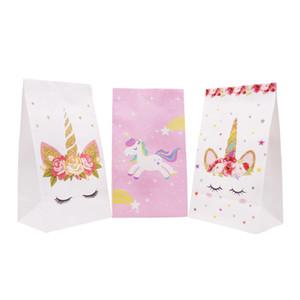 Unicorn Thème Party Sac Cadeau Fête de mariage Décoration Candy Bag Loot pour les enfants Baby Shower Festival de fournitures