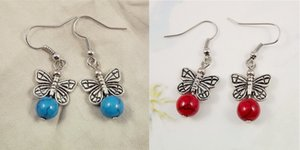 wholesale Pair 2PCS Asian Same Design Tibet Silver Butterfly Modeling And Coral   Turquoise Beads Drop Earrings