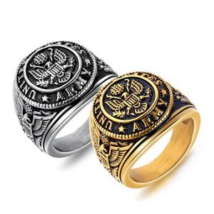 Vintage 316 oficiales de acero inoxidable de joyería anillo de soldados americanos militar de Estados Unidos US ARMY anillo retro de oro, hombres