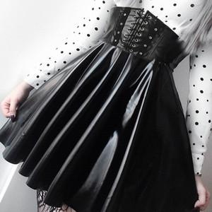 SUCHCUTE Women's Skirts Gothic Harajuku Bandage Faux Leather Korean Fashion Black Mini Pleated Skirts 2019 Summer Party Pu Saias T5190604