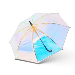 Plastique PVC Holographic parapluie pluie mode Pare-soleil longue poignée Transparent Umbrella