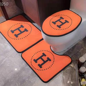 Hot Branded 3pcs Toilet Seat Cover Bedroom Crystal Velvet Door Mat Thick Non-slip Bathtub Toilet Seat Cushion