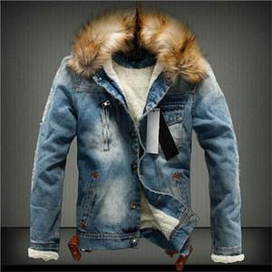 Kürk Yaka Retro ile Asstseries 2018 Erkek Denim Ceket Sonbahar Kış için kumaş kot ceket ve Coat Ripped