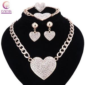 Mulheres Coração romântico Declaração de amor de cristal gargantilhas Colar Anel conjunto de brinco para conjuntos de jóias de ouro nupcial Vestido de Noiva Cor