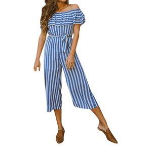 Atacado Moda Mulheres Confortáveis Casual Sexy Stripe Off Ombro Frio Babados Playsuits Macacões M300111