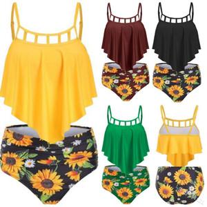Women Sexy Bikini Womens Trendy Swimsuits Girls Sunflower Print High Waist Bikinis Ladys Sexy Swimwear Lotus Leaf Swimsuit Casual Swinsuits