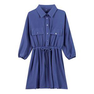 PERHAPS U women long full sleeve turn down collar high street solid beige green blue long shirt sash B0302