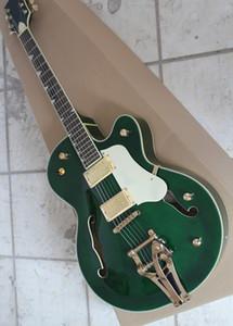 Green semi-hollow electric guitar with Jacaranda arm, white shield, 2 pickups, vibrato system, customized service