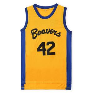 Erkek Genç Kurt # 42 Scott Howard moive Beacon Kunduzlar Basketbol Jersey Sarı Amerikan Film versiyonu devlet ucuz En kaliteli Dikişli logolar