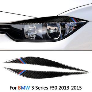 2PCS / Set Real Carbon Fiber автомобилей Фара Брови Декоративные наклейки Автомобильные Автомобильные аксессуары для BMW 3 серии F30 2013-2018