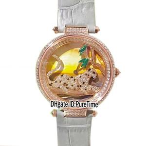 KG.Panthère au Clair Best Version HPI00712 Rose Gold Diamond Bezel Diamond Jaguar Color Dial Swiss Quartz Womens Watch Gray Leather b14d04