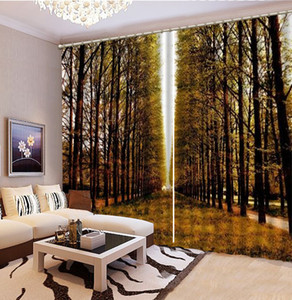 커튼 황금 Autum 우뚝 솟은 나무 아름다운 3D 풍경 커튼 인테리어 Decoration 커튼