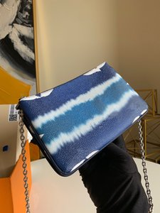 ESCALE POCHETTE DOUBLE ZIP Sommer 2020 Kollektion Frauen-Krawatten-Riesen Leinwand Silberkette 2 Reißverschlusstaschen Versatile Pouch