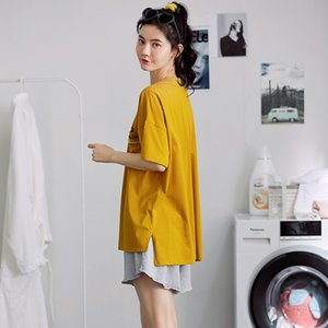 Cotton Pajamas Piece Ms. Summer New Korean Version of the Loose round Neck Installed Short-Sleeved Shorts Suit Jacket