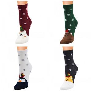 Hermosa serie Mujeres Niñas Calcetines de Navidad 5 Estilos caliente Medio medias de la manera del calcetín Fit Home Decoración de Navidad 3JP E1