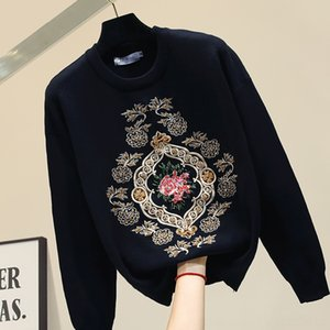 2019 Winter Black Sweater Sweter New Women's Sweaters Women's Clothing Womens Embroidered Flower Sweater Autumn Blusa Loose Sweaters Pull Fe