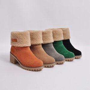 Nouveaux hiver femme bottillons chaud Bottes de neige Designer Suede Half Boot Mode Toes solide ronde Chaussures à gros talons genou Boot Deux types de chaussures