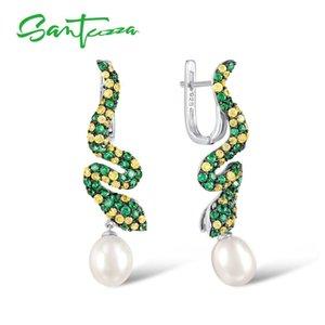 SANTUZZA Silver Earrings For Women Pure 925 Sterling Silver Round Green Spinel Drop Earrings Fresh Water Pearl Fine Jewelry CX200628