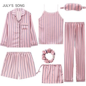 JULY'S SONG 2019 Mujeres 7 Piezas Pijamas Conjuntos Mancha Faux Seda Pijamas Mujeres Ropa de dormir Conjuntos Otoño Invierno Tops + Shorts + Camisa + Pantalones Y19042803