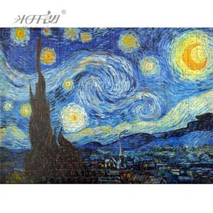 Michel-Ange en bois Puzzles 500 1000 1500 2000 Pièces Ancien maître Nuit étoilée par Vincent van Gogh Peinture murale cadeau T200421