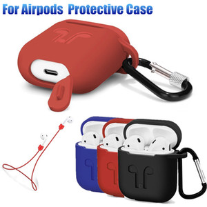 Case Pouch For iPhone 7 Bluetooth Earphone Apple AirPods Shockproof Silicone Case With Anti-lost Strap Dust Plug Retail Package