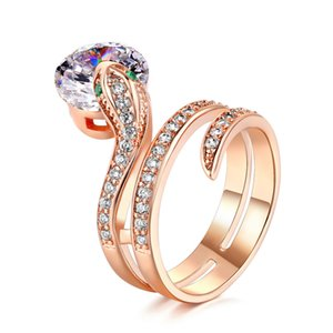 Wedding Ring For Women Lovers Cubic Zirconia Fashion Jewelry Party Gift Serpentine Finger Rings Accessories LY149