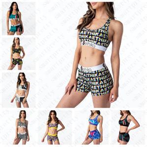 Mujeres Chicas Traje de baño Letra de traje de dibujos animados Estampado de trajes de baño Push Up Sujetador Tanque Chaleco Cultivo Top Shorts 2pcs Bikini Sets Beachwear D51903