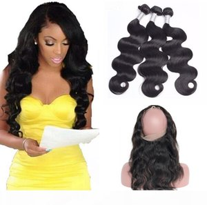 9A Pre Plucked Brazilian Body Wave Hair Weaves With 360 Lace Band Frontal Virgin Human Hair With Bady Hair 4pcs lot