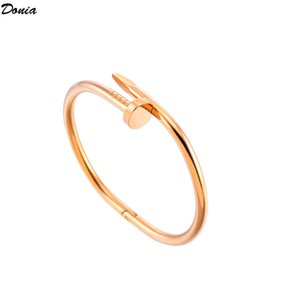Donia jewelry four color electroplate exaggerated nail adjustable titanium steel bracelet personality geometric pattern party birthday gift