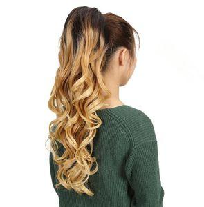 "2020 New Noble Women's Loose Wavy Long 26""Inch Ponytail Elastic Drawstring Horse Tail High Temperature Fiber Synthetic Hair Ponytai"