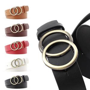 Correas de cuero de las niñas correa redonda del metal del anillo doble hebilla de la correa de la pretina