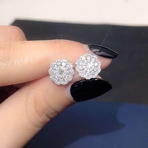 EDI  Diamond Stud Earrings Real 18k White Gold Natural 0.7cttw Pave Setting Diamond Halo Wedding Earrings For Women