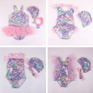 Bambini Mermaid One-Pieces Swimwear Baby Summer Costumi da bagno Ragazze Mermaid Swimsuit Bow Fascia Cartoon Fish Scale Bikini A-814