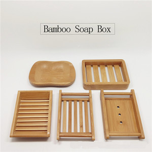 Natural Bamboo Soap Dishes Soap Tray Wooden Holder Shower Bathroom Accessories Drain Rack Home Supplies DHL Shipping