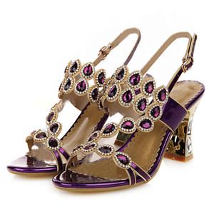 Tacchi alti Sandalia Feminina sandali aperti toed scarpe di moda eleganti tacchi sottili Crystal Set cuoio genuino pattini delle donne