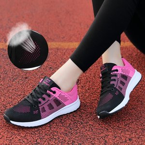 neakers Running Spring Women Sport Light Lace-up Rose Running Shoes Breathable Sneakers Round Cross Straps Trainers Flat Outdoor Gym Sh...
