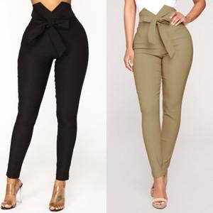 Moda feminina Sólidos Calças Compridas Cintura Alta Bow Tie Calças Lápis Skinny Magro Leggings Casuais Senhoras Calças de Cintura Alta