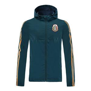 2020 deportes de México manga larga con capucha de la chaqueta de fútbol de la chaqueta con cremallera completa gabardina capa ocasional cómodo impermeable y transpirable