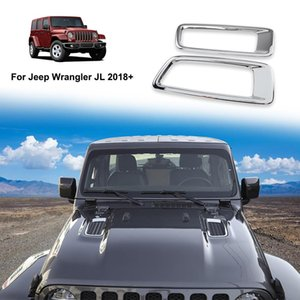 Chrome Car Engine Hood Air AC Outlet Vent Decoration Cover Sticker For Jeep Wrangler JL 2018+ Auto Exterior Accessories