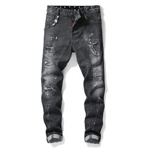 Топы мужского рваного Rivet Slim Fit черных джинсы Мода Тощий Омываются Motocycle Denim Брюки Хип-хоп обшитых панелей Biker брюки 1013
