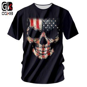 OGKB New Cool stampa della bandiera americana 3d maglietta per gli uomini / donne Skull casuale maglietta Homme Hiphop Punk O Collo Tee Shirts 7XL