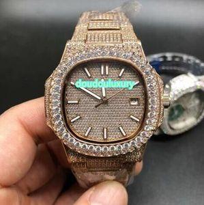 El reloj boutique para hombre más vendido del mundo oro rosa helado diamantes de moda de lujo relojes de fecha automáticos de tres clavijas estables