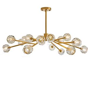 Modern Gold Gold Chandelier G4 Suspensión LED Lámpara colgante luminaria 12/18 cabezas para sala de estar decoración iluminación para el hogar hanglamp