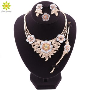 NEW Gold Plated Bridal Jewelry Sets For Women Flower Shaped Necklace Earrings Ring Bracelet Party Jewelery Birthday Gifts