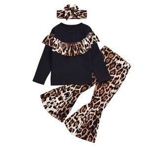 Bebés Meninas Designer Outfits Leopard Ruffle mangas compridas Top + leopardo Alargamento Pants + Headband 3pcs / set Moda Roupa Crianças Conjuntos M549