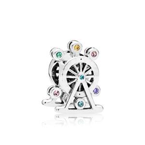 925 Ayar Gümüş Takı aksesuarları Bilezik Boncuk Pandora Renk için Orijinal kutusu CZ Elmas Ferris Wheel Charm setleri