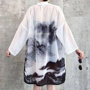Güneş koruyucu Kadın Japon Geleneksel Kimono Hırka Çin Oryantal Mürekkep yıkama Boyama Ince Uzun Elbise Ceket Haori Kıyafetler