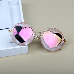 2019 new love Sunglasses Kids Baby Girls Boys Heart Mirror Alloy Children Sun Glasses With Case UV400 Shade Eyeglasses FML