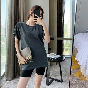 Fashion mid-length women's loose 2020 summer new T-shirt short-sleeved cotton designer solid color T-shirt women's COJ
