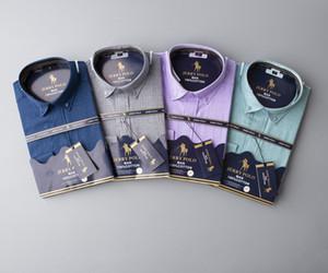 Calidad superior del diseñador de moda RL RACING POLO de marca camisas ocasionales # 003 de Estados Unidos fuera de lujo para hombre de la tela escocesa blanco clásico de manga larga vestido de la solapa Tees